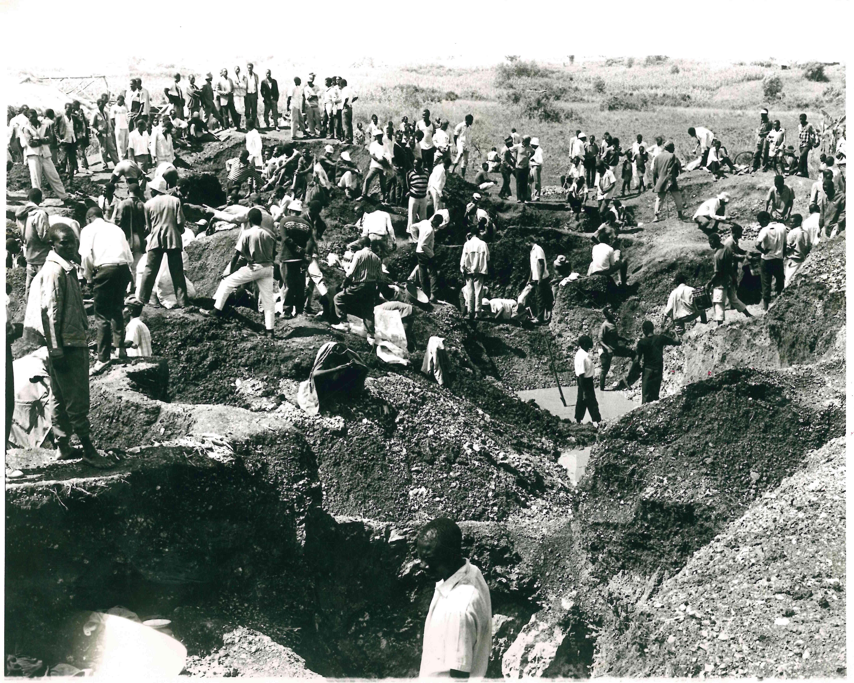 Gold miners in Kakamega in the 1970s.
