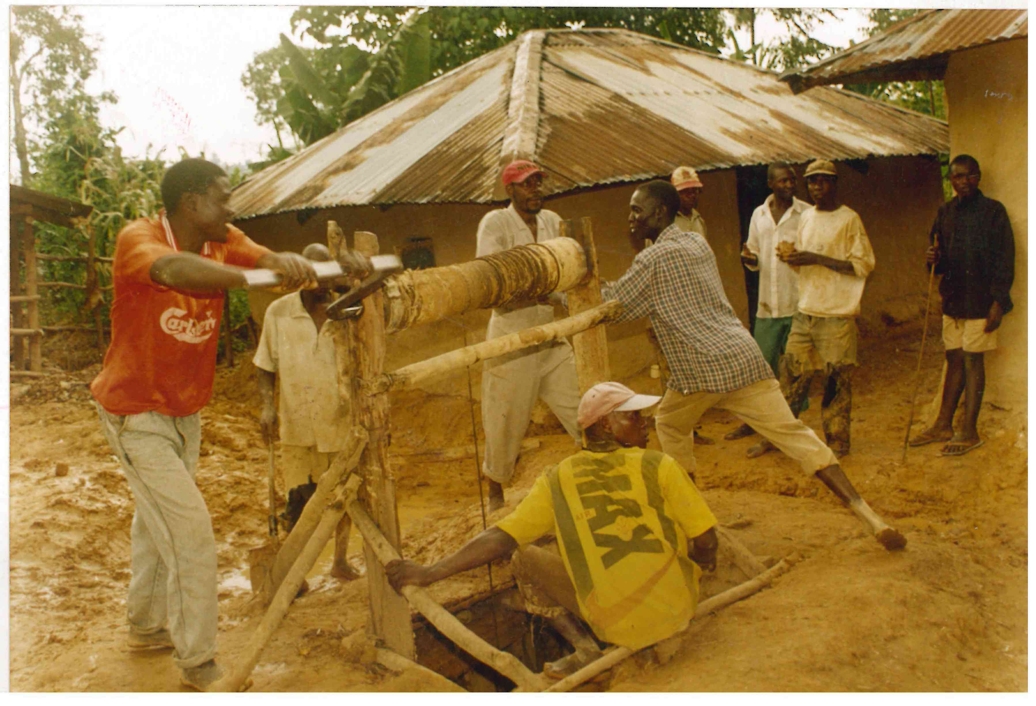 Workers operating a mining shaft in Kakamega.