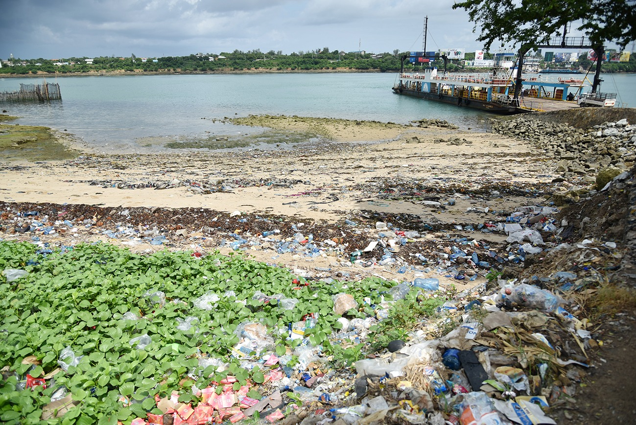 Plastic waste washed up on a beach in Mombasa.