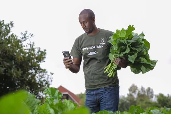Caleb Karuga, a small scale farmer who uses his smartphone to skill himself and get a market for his produce.