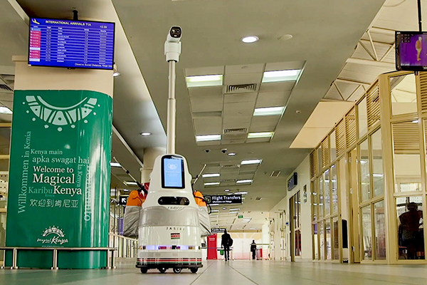 At JKIA, a robot in the corridor joins the Covid-19 fight